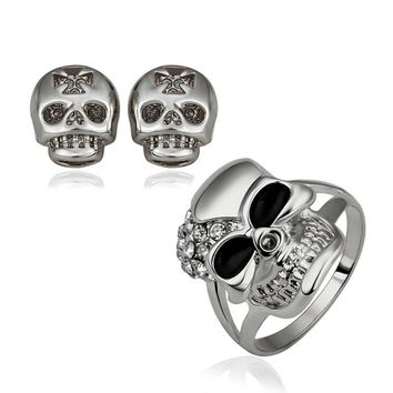 Skull African Gold-Color Jewelry Set For Women Ring and earrings