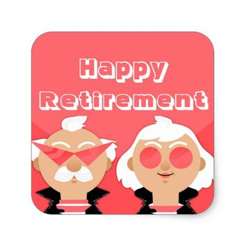 Retirement Couple Square Sticker