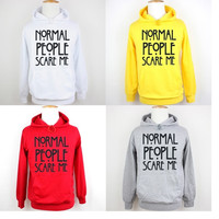 Normal People Scare Me Design Pattern Printed Hoodie Plain Sports Gym Sweatshirt Men's Women's Boy's Girl's Graphic Hoodie Hoody Tops #WM004