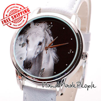 White Horse Ladies Watch, Women Wristwatch, Ladies Watches, Leather Watch, Women Gift Ideas, Birthday Gift - Free Shipping Worldwide