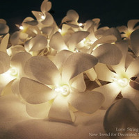 White Frangipani Flower String Lights For Wedding and House decoration (20 Flowers/Set)