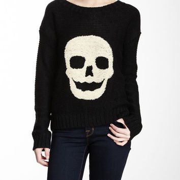 Black & Off White Skull Embroidered Knit Pullover Sweater