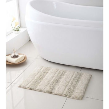 "100% Cotton- Reversible Bath Mat/ Rug- 17""x24""- Ivory"
