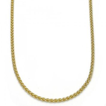 Gold Layered 04.213.0082.18 Basic Necklace, Square Franco Design, Polished Finish, Golden Tone