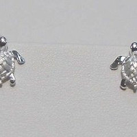 STERLING SILVER SMALL 3D HAWAIIAN SEA TURTLE EARRINGS