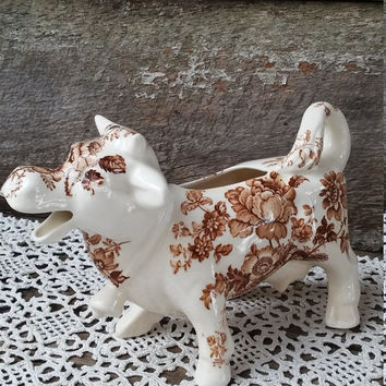 Cow Creamer, Large, Brown and White, Cow Creamer, Royal Staffordshire, Clarice Cliff, England, Serving, Floral