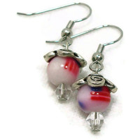 American Flag Earrings, Beaded Earrings, Hypoallergenic Earrings, Glass Bead Earrings