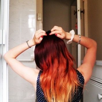 Girl On Fire Red Ombre Set - Clip In Hair Extensions - 100% Human Hair