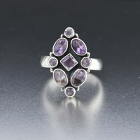 Vintage Arts & Crafts Style Sterling Silver Amethyst RIng