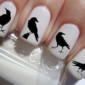 41 Black RAVENS / CROW Nail Art Water Slide Transfer Decals BIRDS Not Stickers or Vinyl
