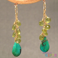 "Clusters of peridot and turquoise, 1-1/2"" Earring Gold Or Silver"