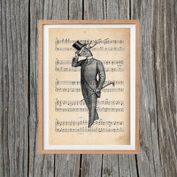 Vintage Deer Print Deer Man Poster Print Antique Wall Art