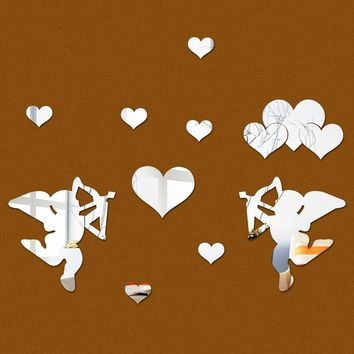 3D Acrylic mirror wall Stickers - Cupid hearts - DIY Home Decor - Multi pcs
