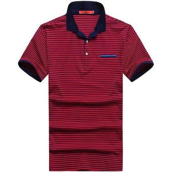 ESBON 9XL 8XL 6X Plus Size Short Sleeve Turn-down Buttoned Collar Tees Embroidered Yarn Dyed Contrast Color Striped Polo Shirt for Men