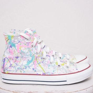Adult LowTop or HighTop Splatter Painted Converse or Vans Sneakers Adult Size 3.5 - 12