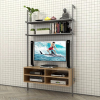 Single Bay Pole Mounted Media Wall with Open Box Cabinet