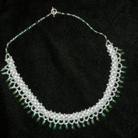 Green Goddess Faux Pearl  Crystal Necklace | CShoresInc - Jewelry on ArtFire