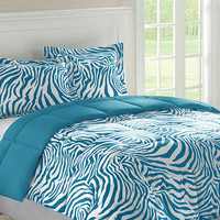 AT HOME by O- -Home Essence Reversible Zebra Full/ Queen-size Down Alternative Comforter and Sham Set-Bed & Bath-Decorative Bedding-Comforters & Sets