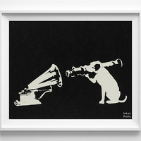 Banksy Print, RCA Dog Poster, Street Graffiti Art, Speaker and Dog, Urban Artist, Stencil Art, Street Art, Home Decor, Valentines Day Gift