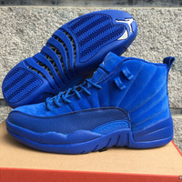 Air Jordan 12 Retro AJ 12 Blue Suede Men Women Basketball Shoes