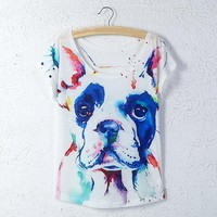 Animal Dog Printed Loose Tops