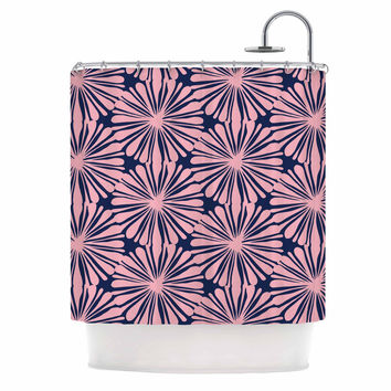 "Amy Reber ""Pink Daisy"" Blue Pattern Shower Curtain"