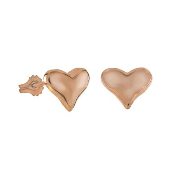 .925 Sterling Silver Heart Rose Gold Ladies and Kids Stud Earrings