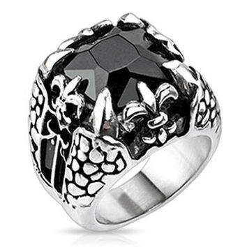 Dragonstone – Large square cut onyx gem dragon claw Fleur De Lis oxidized silver stainless steel men's ring