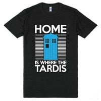 Home Is Where The Tardis-Unisex Athletic Black T-Shirt