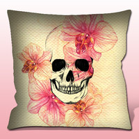 Skull With Orchids Pillow Case, Cover, Custom Cushion, Gift Woman, Birthday