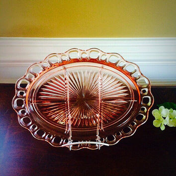 Pink Depression Glass 5-Part Relish Dish in Lace Edge-Pink or Old Colony by Anchor Hocking, Vintage 1930s Kitchen, Felix Vintage Market