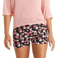 Stretchy Floral Print Bike Shorts by Charlotte Russe - Black Combo