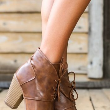 Word On The Street Booties-Cognac