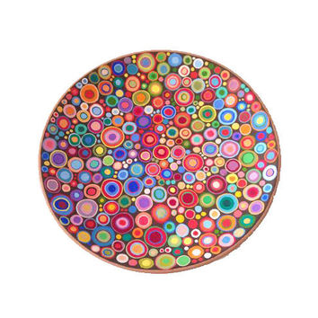 "Decorative plate ""Circles"", hand painted wall hanging plate, wall decorations, spring and summer home decor, ceramic wall art"