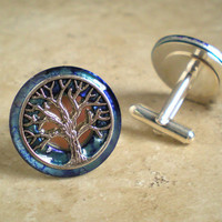 Cufflinks: Tree of Life - Violet Blue - Mens Gift - Boyfriend Gift - Valentine Gift - Celtic Cufflinks - Best Man Gift - Mens Jewelry