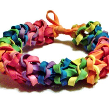 Rainbow Rubber Band Bracelet - Ruffled Stretch Bracelet - Available in ALL Colors