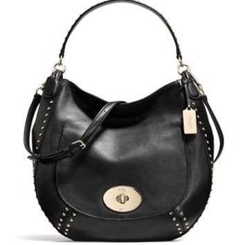 Coach Circle Hobo Studded Calf Leather Shoulder Bag