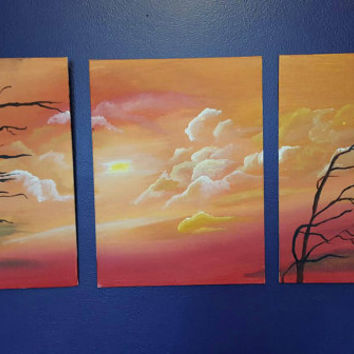 Set of 3 acrylic painted canvases