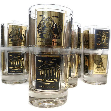 Vintage Seven Wonders of the World Glasses, Mid Century Gold and Black Drinking Glasses,  Frank Maietta Highball Barware,  Set of 6