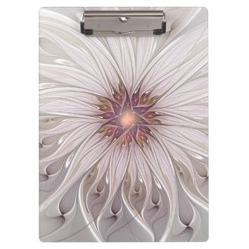 Floral Fantasy, Abstract Modern Pastel Flower Clipboard