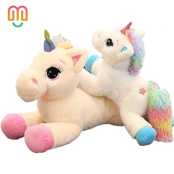 Vanmajor 40/60cm Creative  Unicorn Stuffed Animals Soft Doll Cartoon Unicorn Animal Horse High Quality Gift For Children