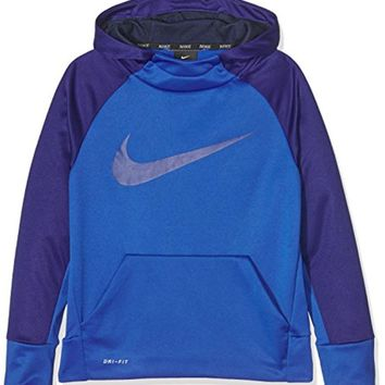 NIKE Boys Youth Swoosh Therma Hoodie Pullover Blue