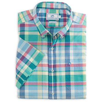 Lafayette Square Plaid Short Sleeve Sport Shirt in Blue Stream by Southern Tide
