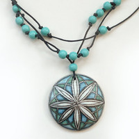 Bizarre Necklace,  Blue Turquoise Hand Painted Jewelry , Wood Beads Necklace