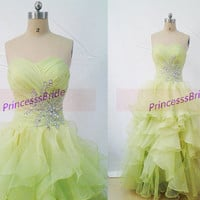 2014 long kelly tulle prom dresses with crystals,cute sweetheart bridesmaid gowns hot,chic floor length dress for holiday party.