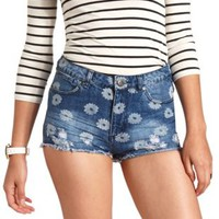 Daisy Print Cut-Off High-Waisted Denim Shorts - Med Wash Denim
