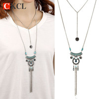 High Quality Bohemian Vintage Necklace Antique Silver Blue Turquoise Jewelry Long Tassel Necklace &Pendants For Women