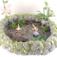 Fairy garden miniature koi fish pond. Lily pads, plants, moss covered pond for terrarium, dollhouse etc.