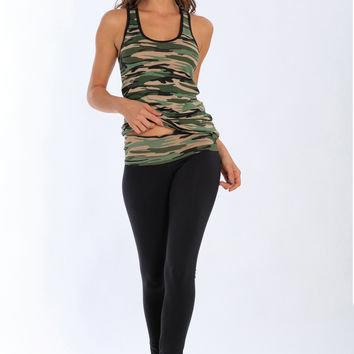 Miami Style® - Fitted Cotton Leggings with Camouflage Folding Waistband
