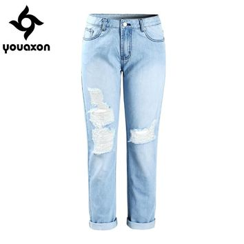 2047 Youaxon Ripped Boyfriends Mom Jeans Women`s New Mid Waist True Denim Jean Slim Fit Pants Jeans For Woman